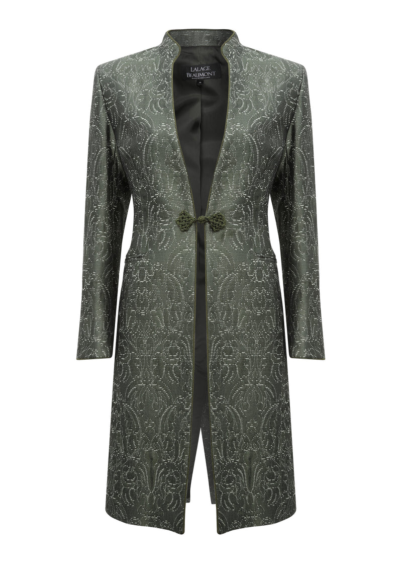 Dark green dress coat for weddings and wedding guests or mother of the bride