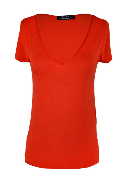 Knitwear - Jersey Top With V Neck - Orange