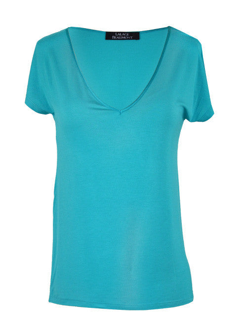 Knitwear - Jersey Top With V Neck - Turquoise