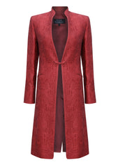 Dress-Coat in Carnelian Silk Brocade with Cord Trim and Frogging - Vicky