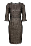 Green and black jacquard dress with black piping - Emma