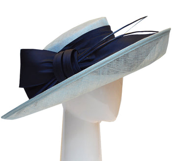 Up Brim Hat with Silk Bow -Duck egg & Navy