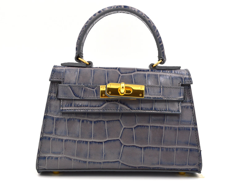 Manon Mignon - 'Croc Print' Leather Handbag - Light Grey