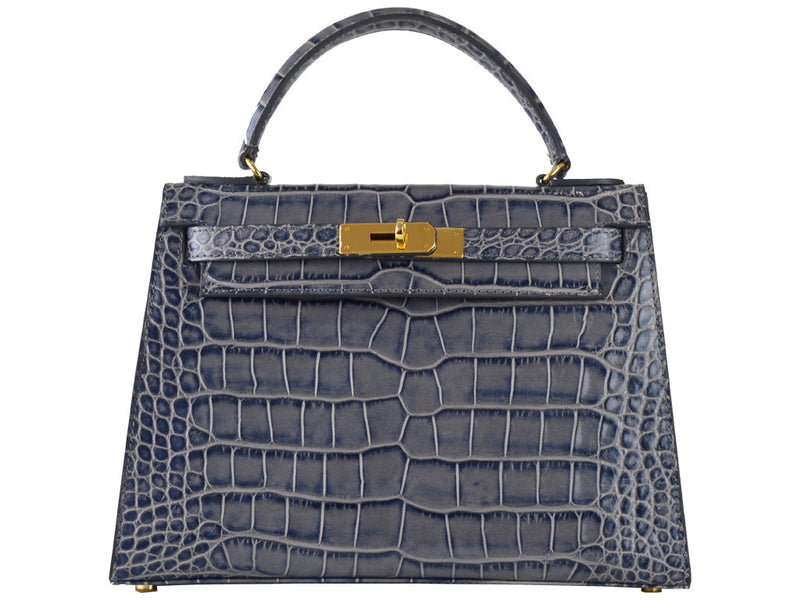 Manon Medium - 'Croc Print' Leather Handbag - Light Grey