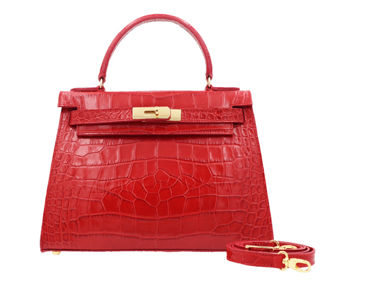 Manon Large 'Croc' Print Leather Handbag - Red