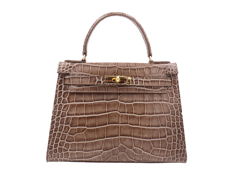 Manon  Large - 'Croc Print' Leather Handbag - Taupe
