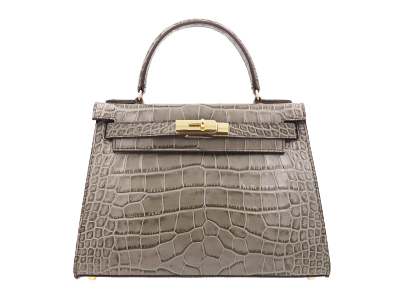 Manon Large 'Croc Print' Leather Handbag - Sage