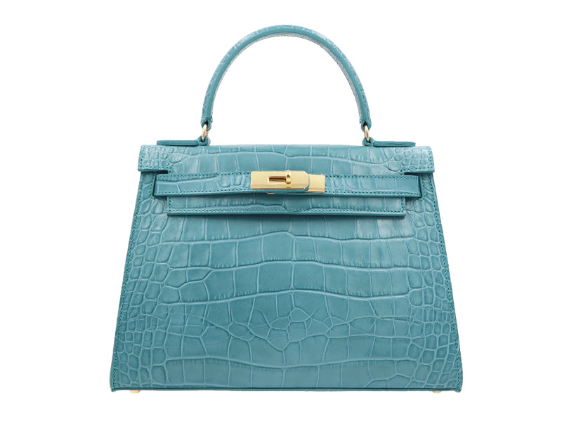 Manon Large - 'Croc Print' Leather Handbag - Topaz