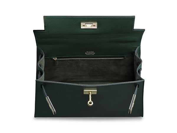 Manon Large -  Palmellato Leather Handbag - Dark Green