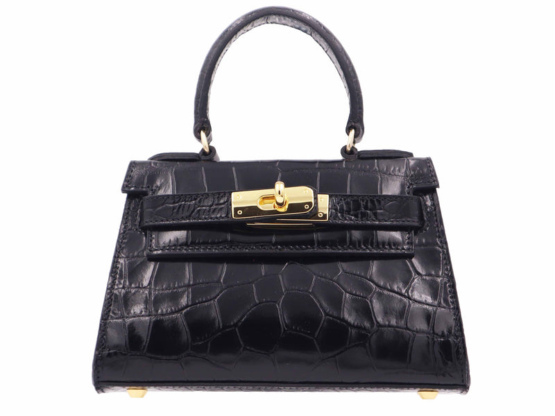 Manon Mignon - 'Croc Print' Leather Handbag - Black