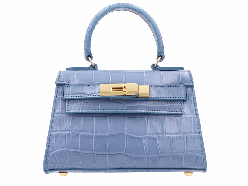 Manon Mignon 'Croc Print' Leather Handbag  - Bluebell