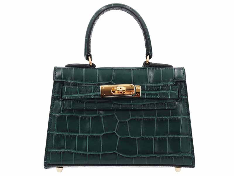 Manon Mignon - 'Croc Print' Leather Handbag - Dark Green