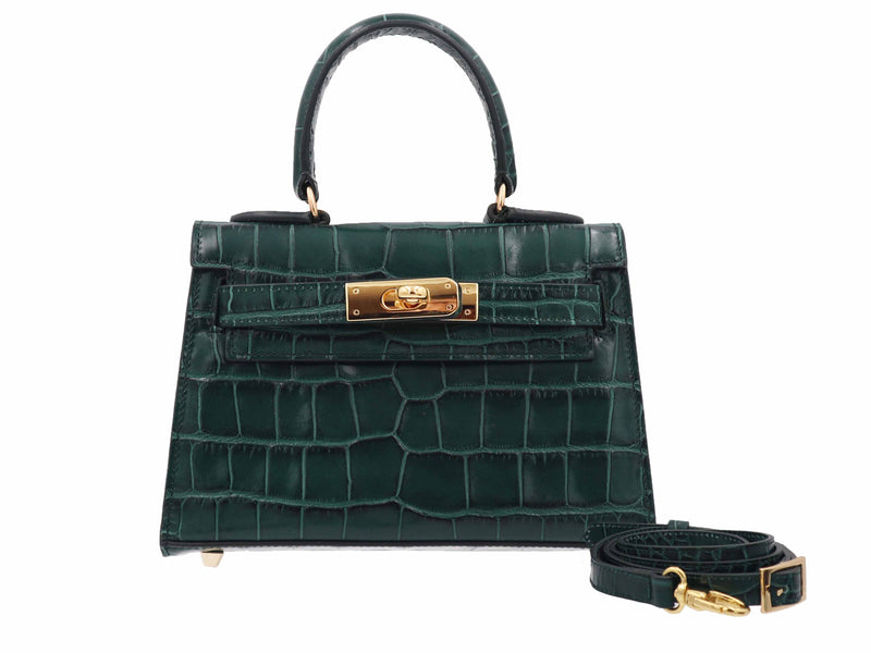 Manon Mignon 'Croc Print' Leather Handbag - Dark Green