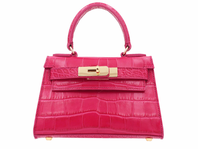 Manon Mignon 'Croc Print' Leather Handbag  - Fuschia
