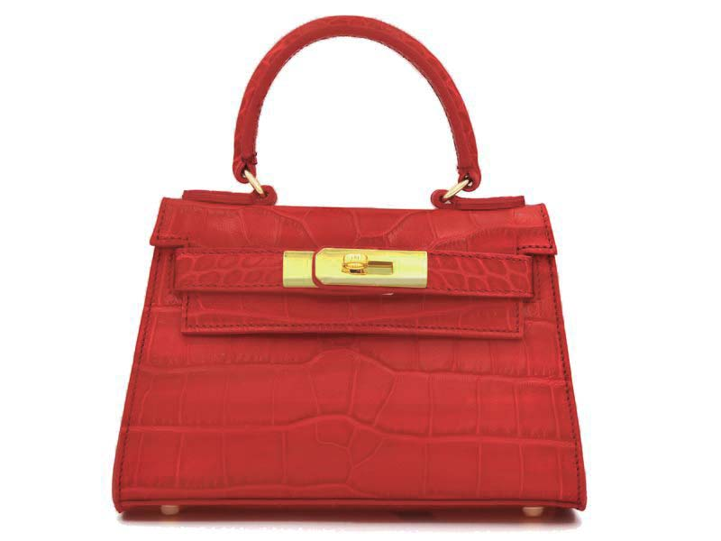 Manon Mignon - 'Croc Print' Leather Handbag - Red