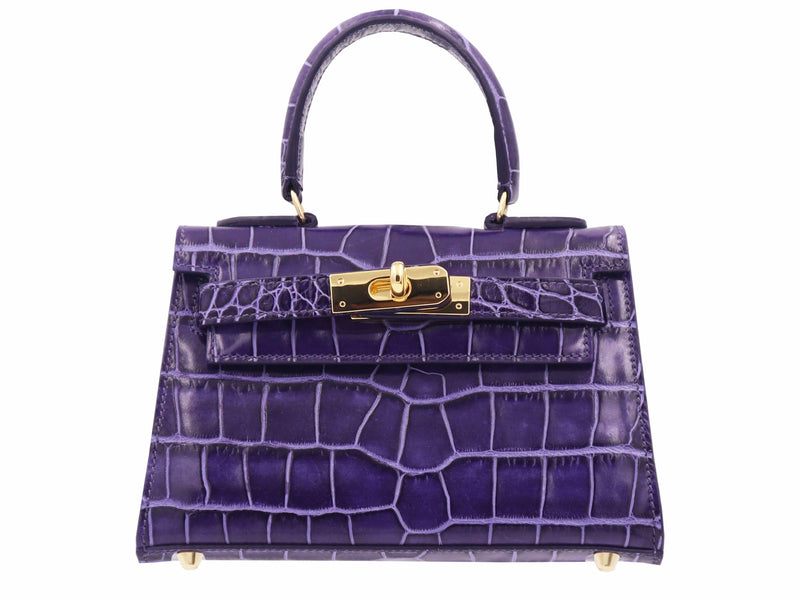 Manon Mignon - 'Croc Print' Leather Handbag  - Purple