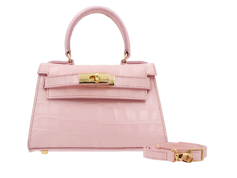 Manon Mignon 'Croc Print' Leather Handbag  - Rose