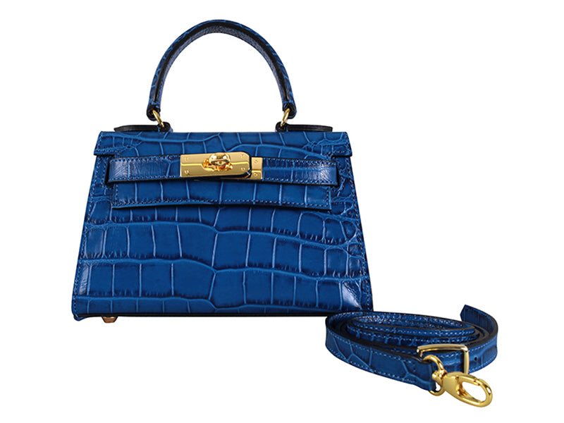 Manon Mignon 'Croc' Print Leather Handbag - Royal With Strap