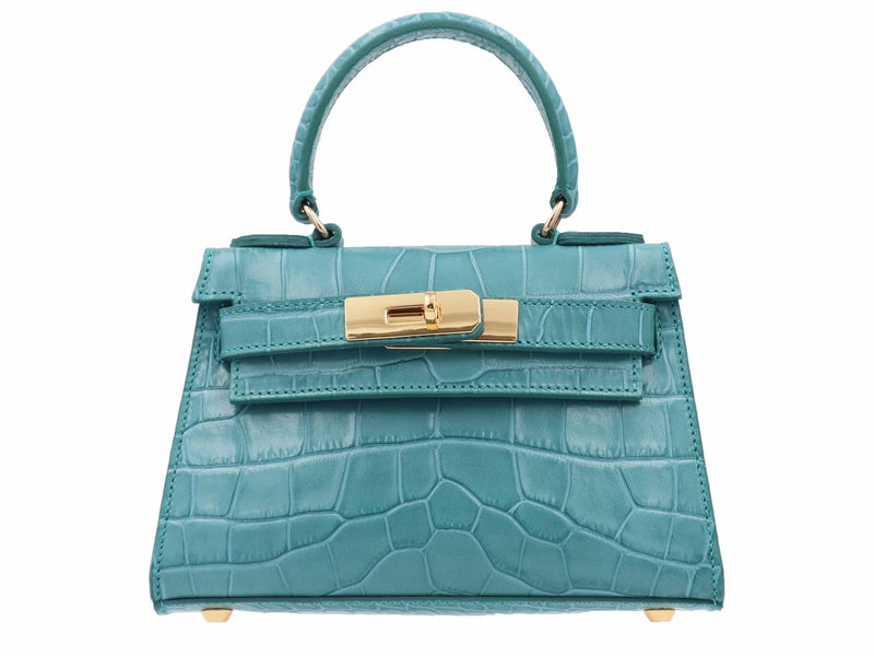 Manon Mignon 'Croc Print' Leather Handbag  - Topaz