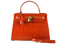 Manon Large 'Croc Print' Leather Handbag - Orange