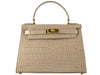 Manon Medium 'Croc Print' Leather Handbag - Stone