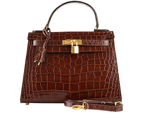 Manon Medium 'Croc Print' Leather Handbag - Brown