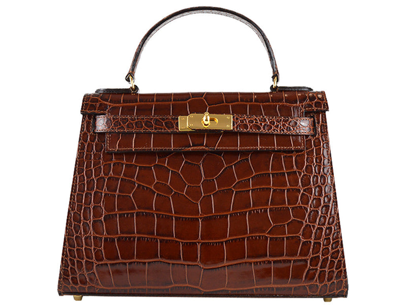 Manon Large  'Croc Print' Leather Handbag - Brown