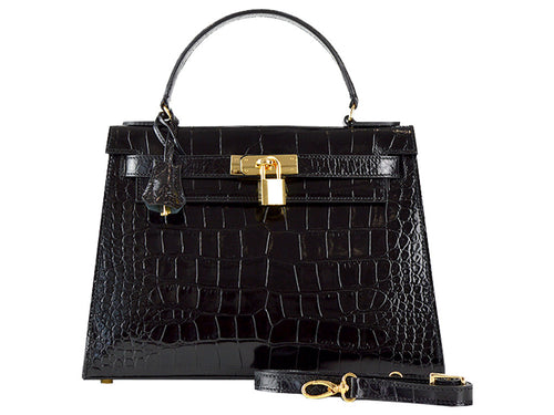 Manon Medium 'Croc Print' Leather Handbag - Black