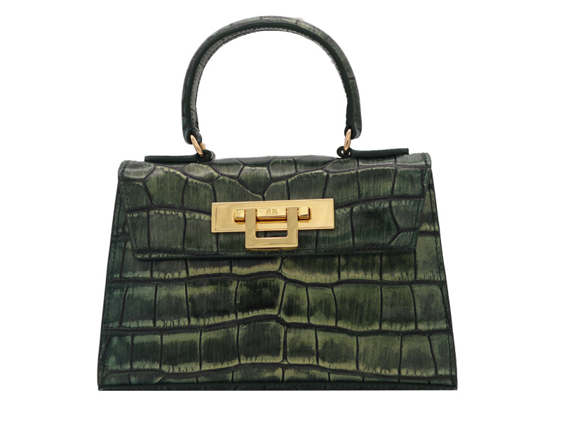 Fonteyn Mignon 'Croc' Print Leather Handbag - Metallic Green