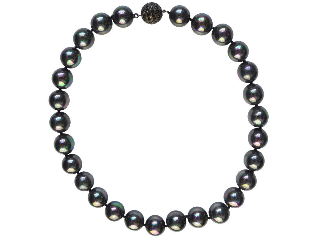 Mother of Pearl Necklace with Diamanté Clasp - Mirrored Black