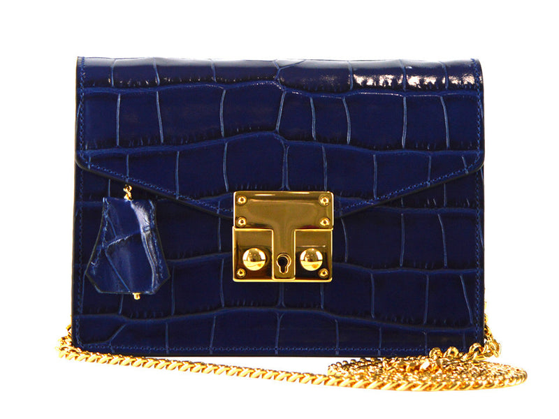 Coppelia Small 'Croc' Print Shoulder Bag - Navy