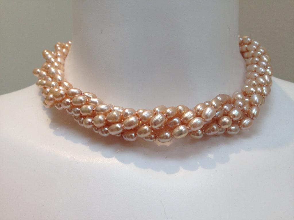 Necklace - 6 Strand Freshwater Pearl Necklace - Pale Gold