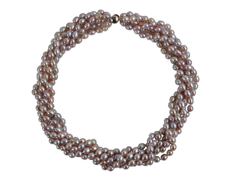 Necklace - 6 Strand Freshwater Pearl Necklace - Smoky Pink