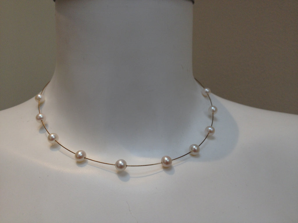 Necklace - Freshwater Pearls On Gold Wire Necklace