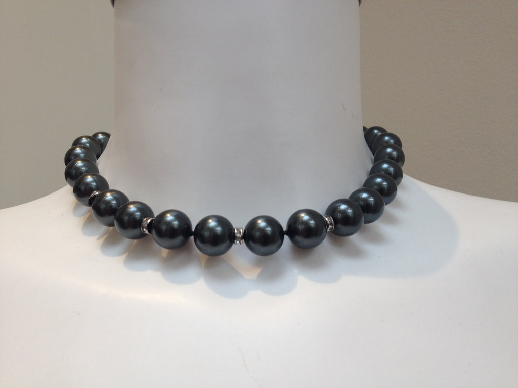 Necklace - Pearl And Diamanté Necklace - Dark Grey