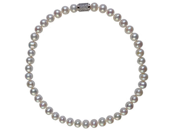 Pearl Necklace white round sparkle clasp - White