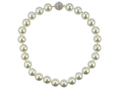 Mother of Pearl Necklace with Diamanté Clasp - White