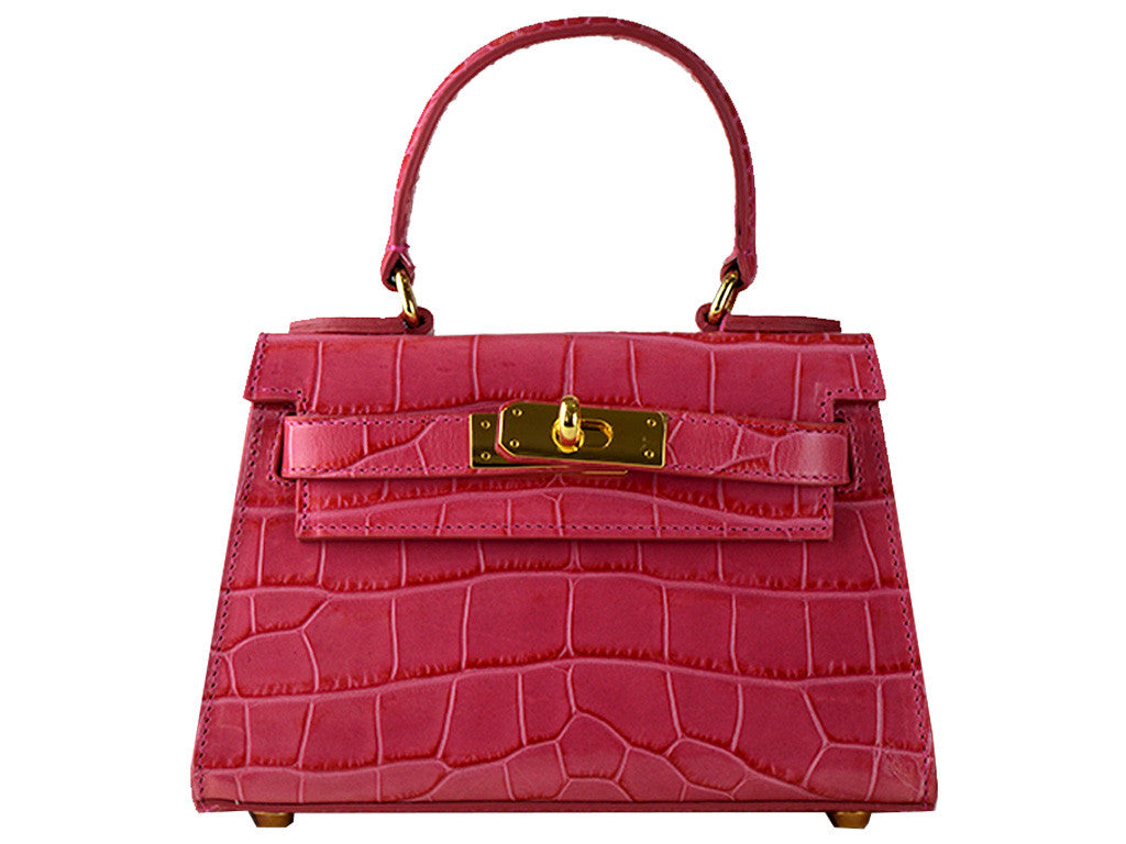Manon Mignon - 'Croc Print' Leather Handbag- Fuchsia