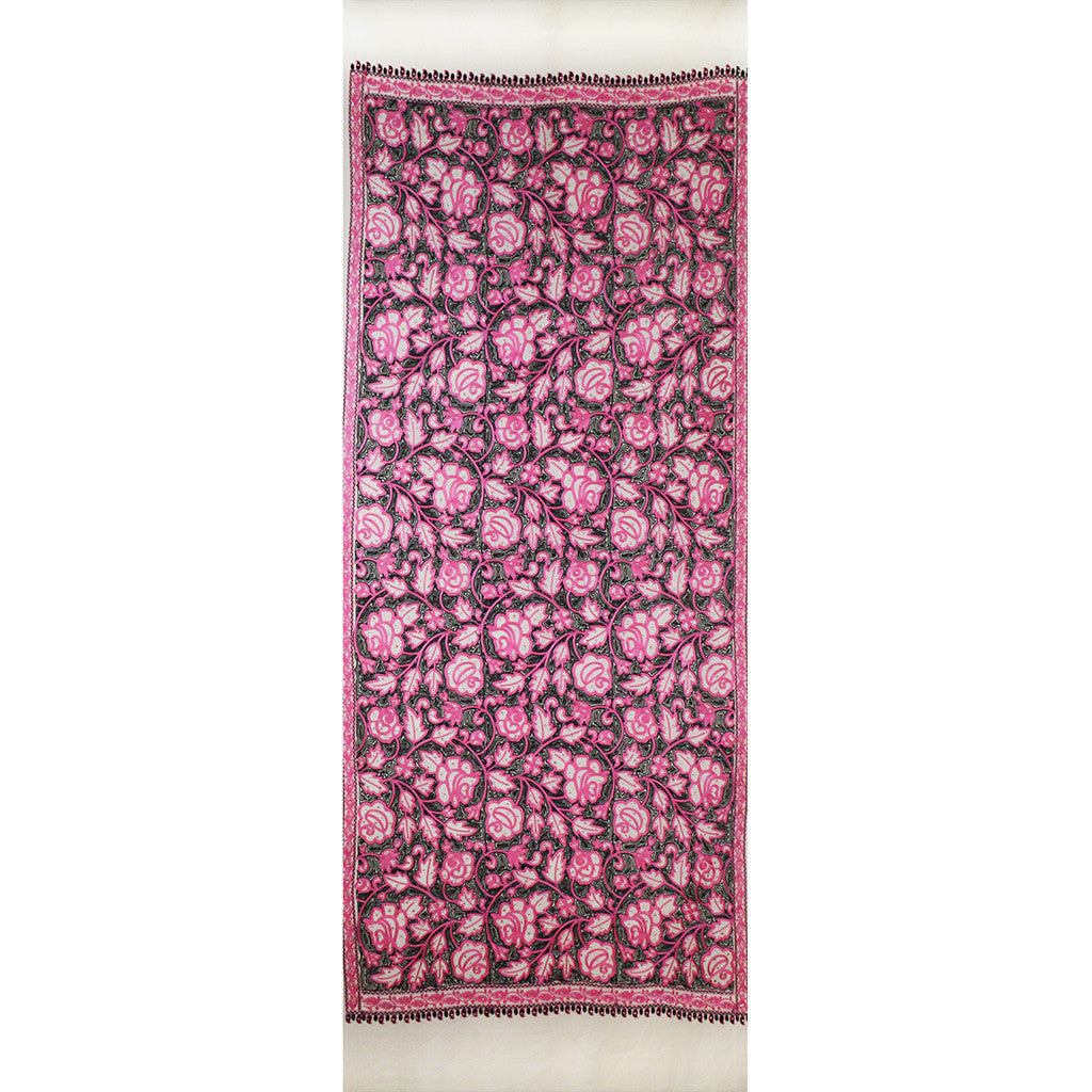 Embroidered Scarf - White\Pink\Black