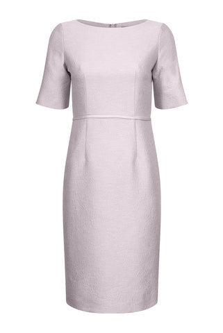 Ballerina Length Silk Jacquard Dress in Shell Pink and Silver- Sophie