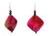 Pink Dyed Diamond Shaped Drops Earrings