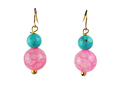 Turquoise Dyed Jade and Pink Stone Earrings