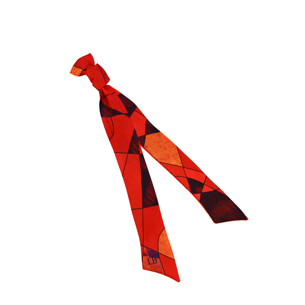Ribbon Silk Scarf - Sagrada Scarlet