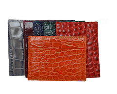 Credit Card Holder 'Croc Print' Leather - Various Colours