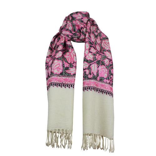 Scarf - Embroidered Scarf - White\Pink\Black