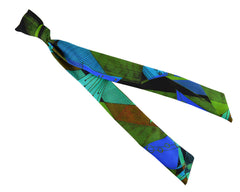 Ribbon Silk Scarf - Silver Dew Abstract