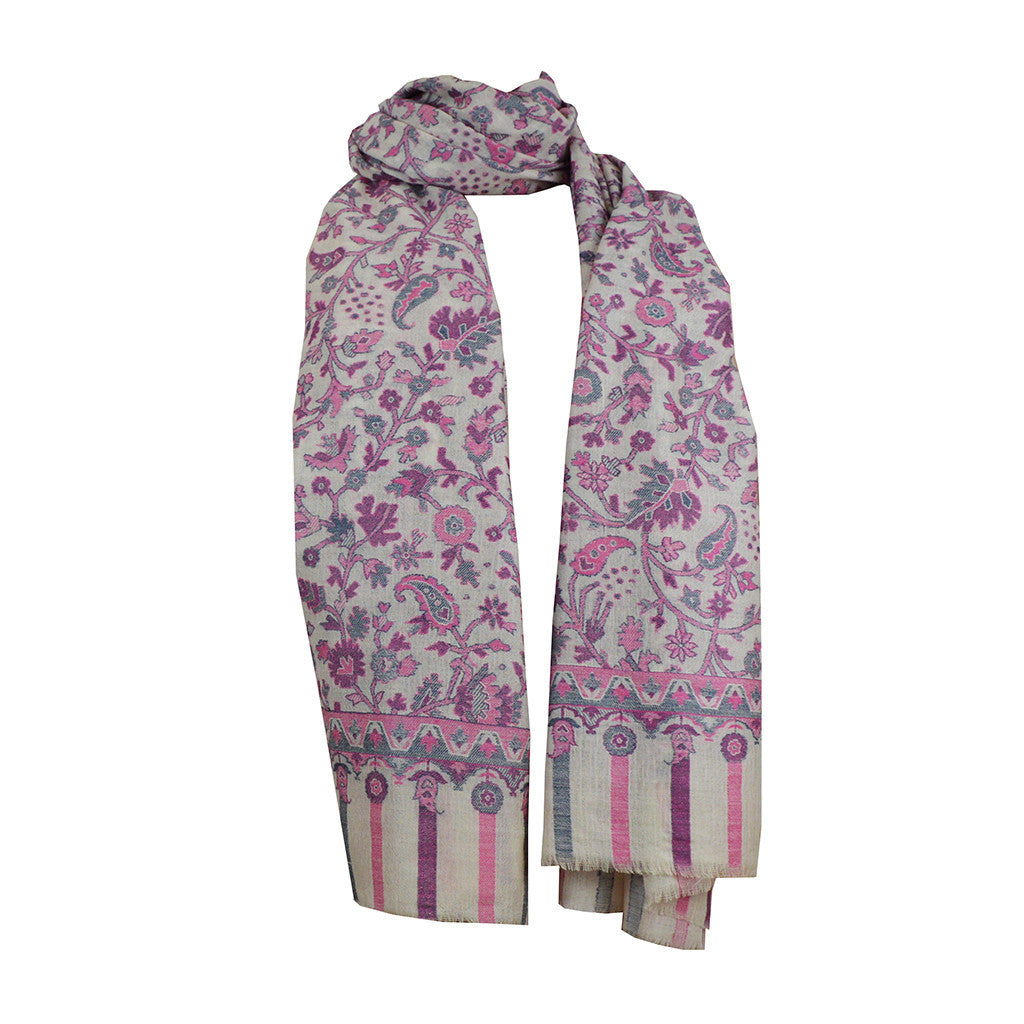 Scarf - Scarf  Floral Jacquard - Pink\Grey