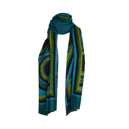 Scarf - Scarf With Circles - Teal\Turquoise
