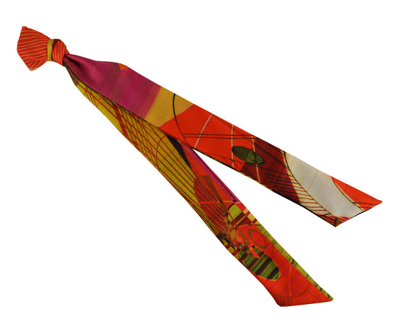 Scarf - Silk Ribbon Scarf - Vermillion Scotch Chaos