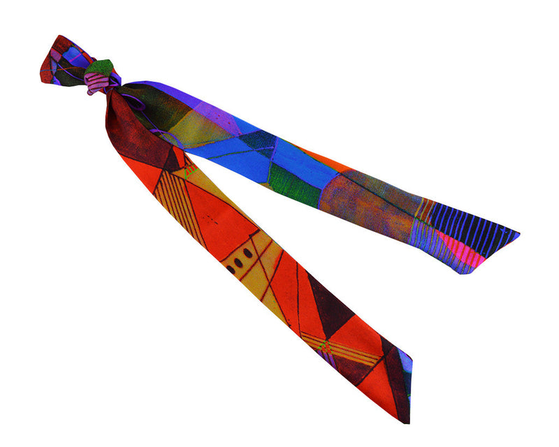 Scarf - Silk Ribbon Scarf - Vermillion Scotch Prism